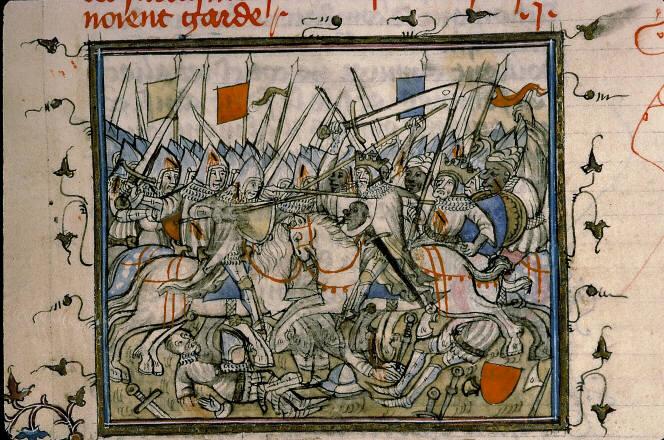 Codex manesse : homme en costume civile mais portant épée et dague
